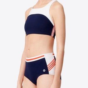 Tory Sport Racerback Zip Bikini Top